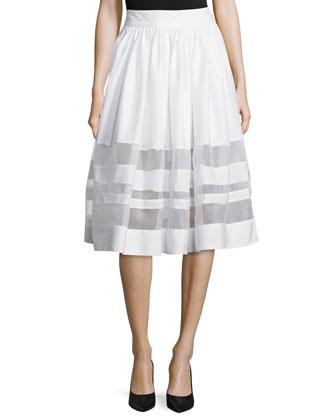 Jaylene Cropped Crewneck Top & Misty Sheer-Inset A-Line Skirt