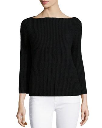 Cashmere 3/4-Sleeve Shaker Sweater, Black