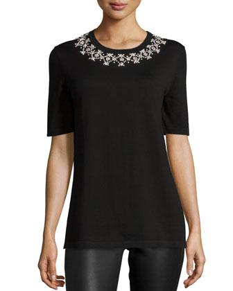 Embellished-Neck Short-Sleeve T-Shirt, Black