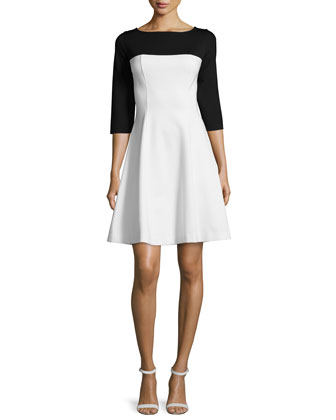 3/4-Sleeve Colorblock Fit & Flare Dress