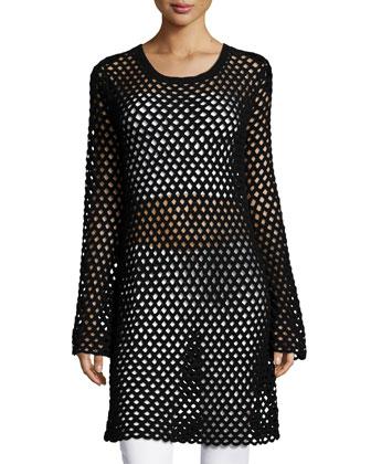 Long-Sleeve Mesh Tunic Dress, Black