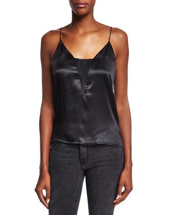 Le Sheer Silk Camisole, Noir
