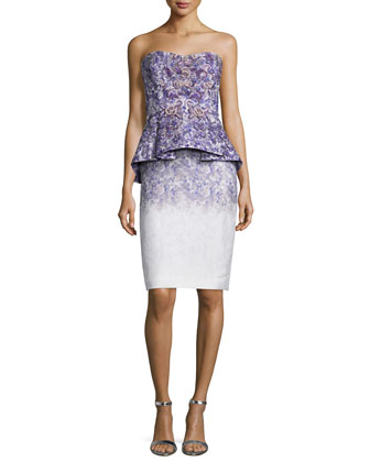 Strapless Ombre Floral-Print Peplum Dress, Ultra Violet