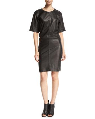 DENIM Le Leather Short-Sleeve Shirtdress, Noir