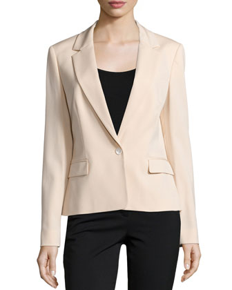 One-Button Long-Sleeve Jacket, Nude