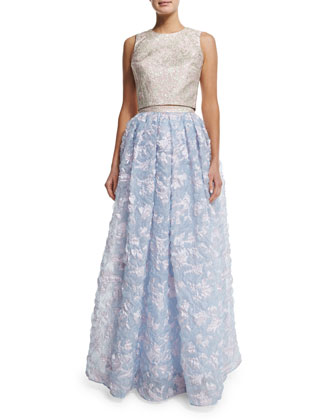 Sleeveless Two-Piece Full-Skirt Gown, Blue/Pink