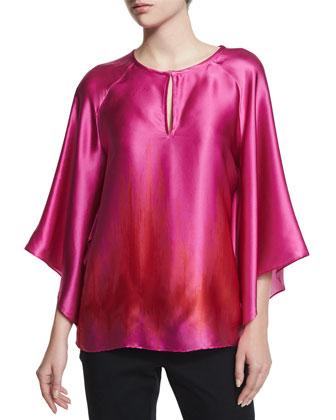 Tulip-Sleeve Printed Silk Blouse