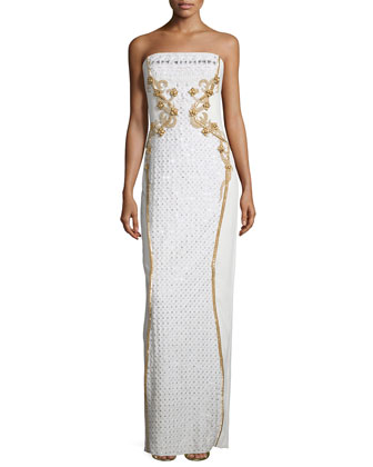 Strapless Embellished-Floral Gown, Ivory