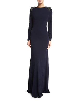 Long-Sleeve Open-Back Gown, Navy
