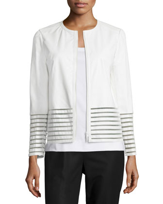 Aisha Leather Jacket with Illusion Trim, White, Women's