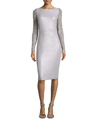 Beaded Long-Sleeve Metallic Dress, Gray