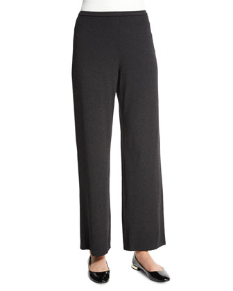 Straight-Leg Stretch Pants, Charcoal, Petite