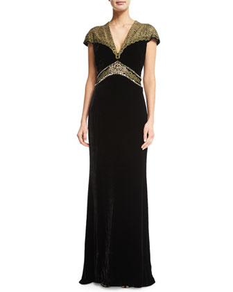 Velvet Combo Gown, Black/Gold