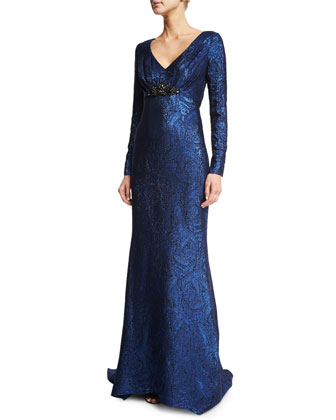 Long-Sleeve Metallic Paisley Gown