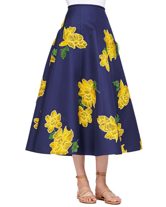 Dahlia-Embroidered Full Mikado Skirt