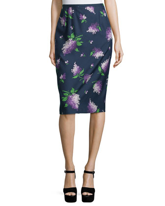 Floral-Print Pencil Skirt, Indigo/Lilac