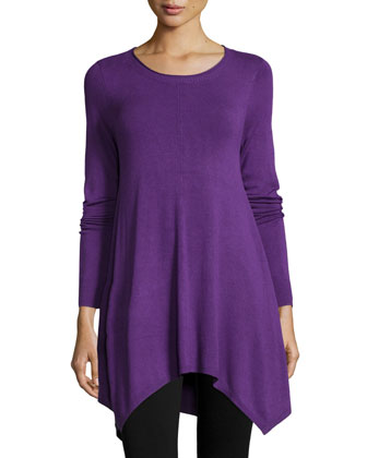 Long-Sleeve Easy Tunic with Hanky Hem