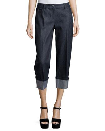 Straight-Leg Cuffed Jeans, Indigo