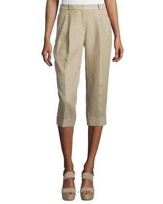 Pleated-Front Capri Trousers, Hemp