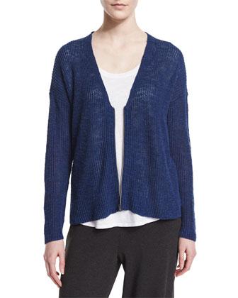 Zip-Front Boxy Cardigan, Blue Bonnet