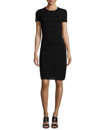 Short-Sleeve Wave-Mesh Sheath Dress