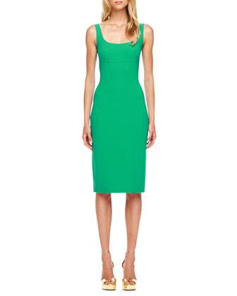 Sleeveless Wool-Crepe Sheath Dress