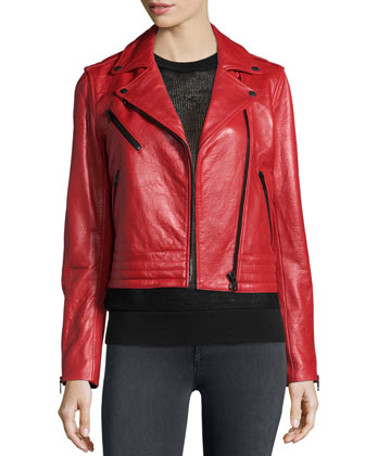 Chrystie Leather Moto Jacket, Shea Mesh Vest & Premiere Legging Jeans