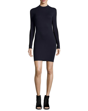Reilly Long-Sleeve Sheath Dress, Navy
