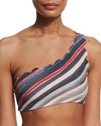Santa Barbara Striped One-Shoulder Swim Top, Sally Dark Stripe
