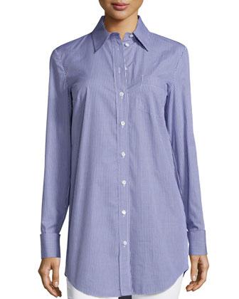 French-Cuff Button-Front Shirt, Indigo/White