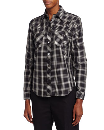 Plaid Patch-Pocket Shirt, Black/Muslin