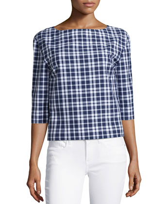 3/4-Sleeve Check-Print Tunic, Indigo/White