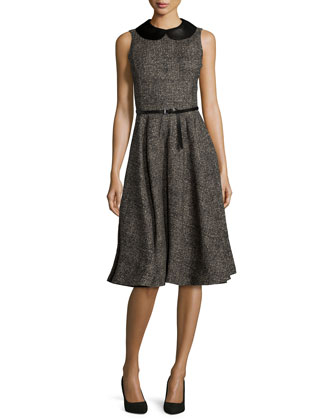 Sleeveless Belted Fit-&-Flare Dress, Hemp/Black