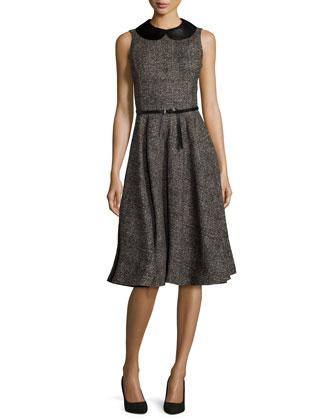 Sleeveless Belted Fit-&-Flare Dress, Hemp/Black