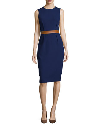 Sleeveless Two-Tone Sheath Dress, Indigo