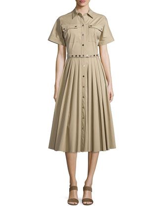 Short-Sleeve Utility Shirtdress, Sand