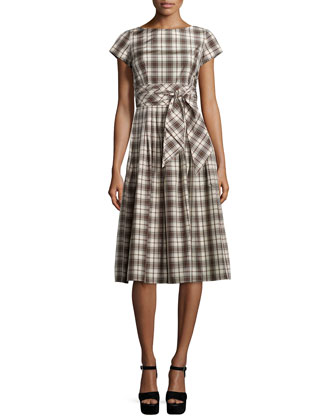 Plaid Tie-Waist Midi Dress, Muslin/Black