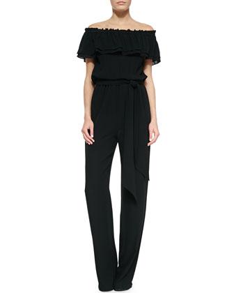Off-The-Shoulder Smocked Jumpsuit, Black