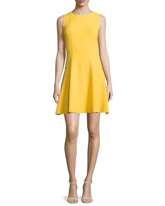 Sleeveless Jewel-Neck Flirt Dress, Daffodil
