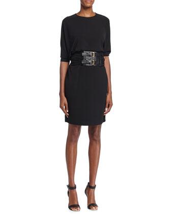 Half-Sleeve Belted-Front Dress, Black
