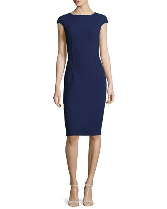 Boucle Cap-Sleeve Sheath Dress, Indigo