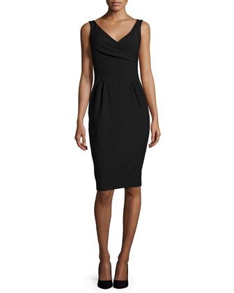 Sleeveless V-Neck Sheath Dress, Black