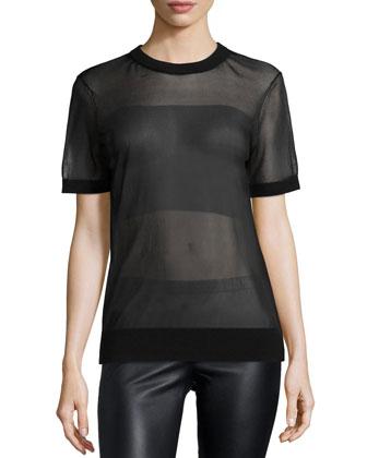 Short-Sleeve Sheer T-Shirt, Black