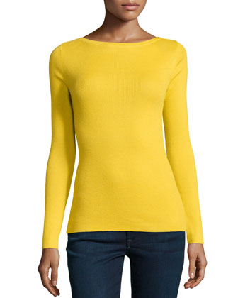 Long-Sleeve Bateau-Neck Cashmere Top, Daffodil