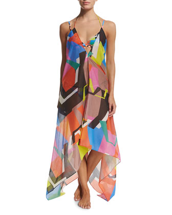 Katrina Printed Halter Coverup Dress