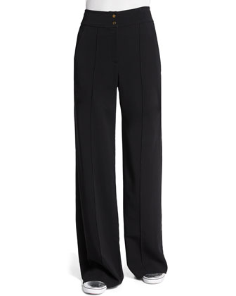 Debra High-Waist Wide-Leg Pants, Black