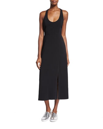 Leesa Scuba Tie-Back Dress, Black