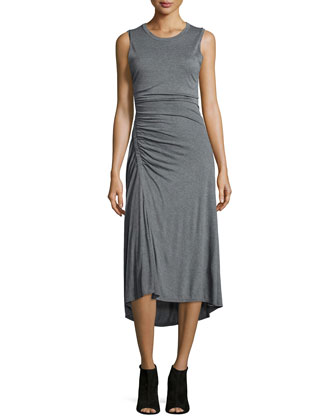 Nicole Ruched Sleeveless Dress, Heather Gray