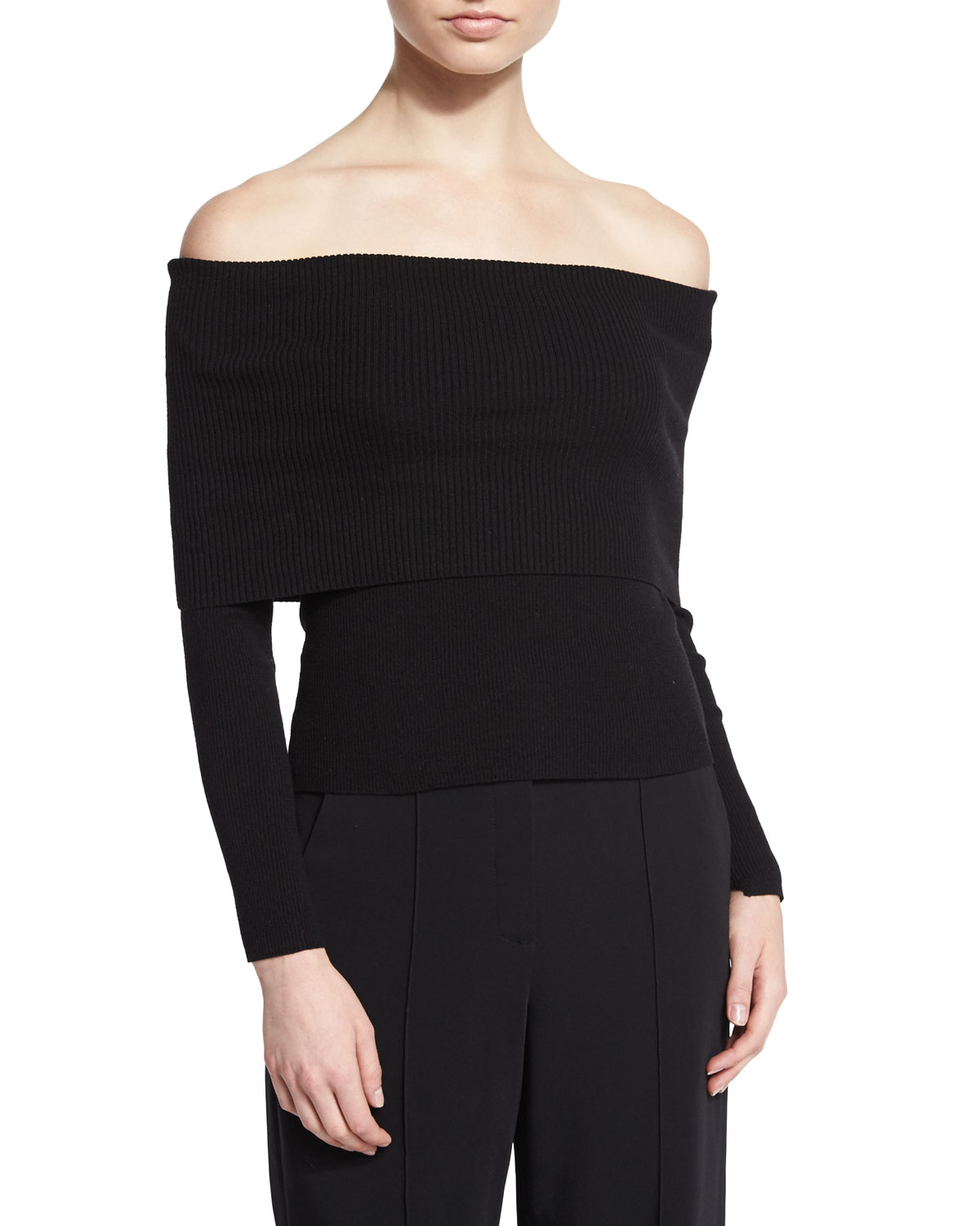 Monica Wool-Blend Off-the-Shoulder Sweater, Black, Size: LARGE - A.L.C.