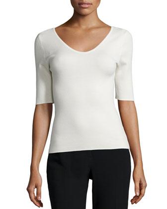 Half-Sleeve Cashmere Top, Muslin